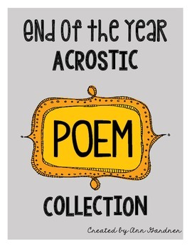 End of Year Acrostic Poem Collection