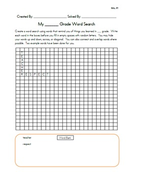 End of Year Activity- Grade level word search