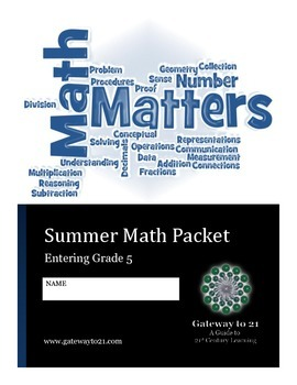End of Year Activity Summer Math Packet Entering Grade 5