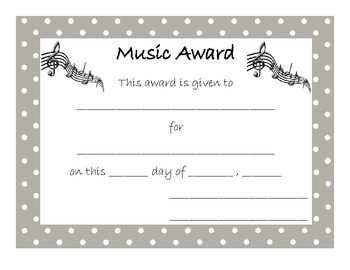 End of Year Award for Music