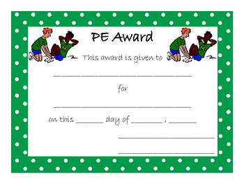 End of Year Award for PE or Physical Education or Gym