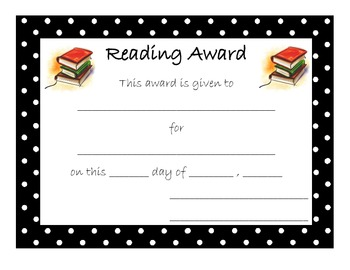 End of Year Award for Reading