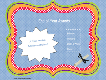 End of Year Awards - 30 Unique Fun Awards *Editable*