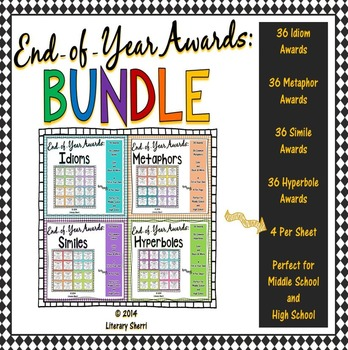 End of Year Awards: Figurative Language BUNDLE --> 4-per-page