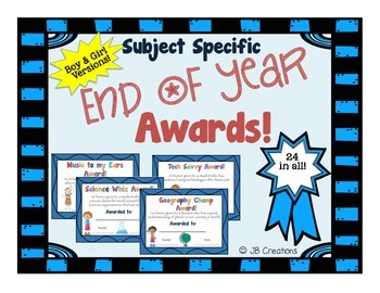 End of Year Awards for Specific Subjects (boy and girl versions)