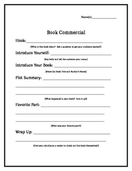 End of Year Book Commercial Write Up Sheet