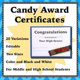 End of Year Candy Award Certificates - Middle and High School
