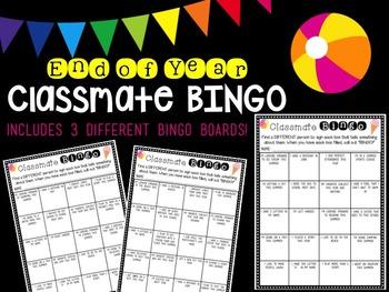 End of Year Classmate Bingo Pack
