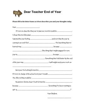 End of Year - Dear Teacher Letter Writing frame
