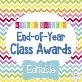 End of Year EDITABLE Class Awards {Bright Chevron}