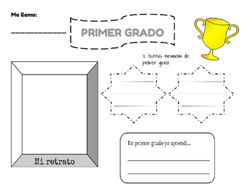 End of Year/First Grade Placemat