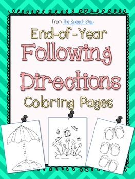 End-of-Year Following Directions Coloring Pages