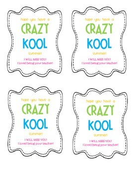 End of Year Gift Tag for Kool-Aid -- FREE!