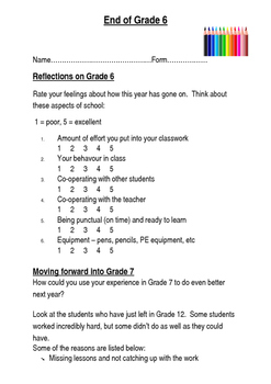 End of Year - Grade Pupil Review Activity