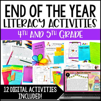 End of Year Literacy Activities for 5th Grade {Common Core