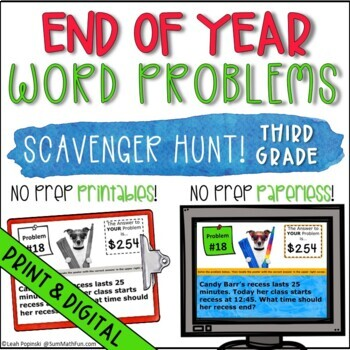 End of the Year Third Grade No Prep Solve the Room