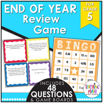 End of Year Math Review BINGO Game {Grade 5}