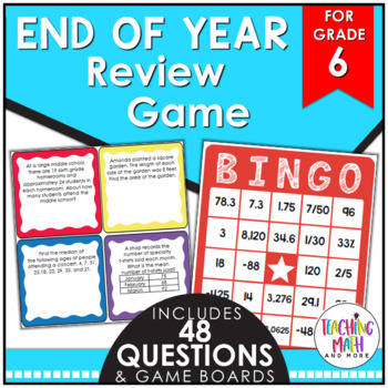 End of Year Math Review BINGO Game {Grade 6}