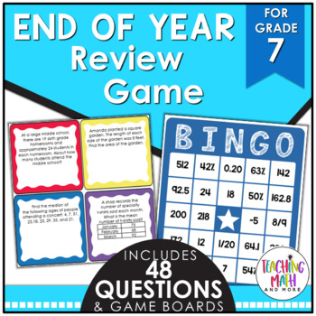 End of Year Math Review BINGO Game {Grade 7}