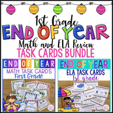 End of Year Math and ELA Review Task Cards 1st Grade