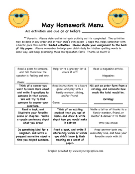 End of Year:  3rd grade May Homework Calendar Menu