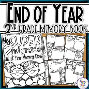 End of Year Memory Book Superhero - 2nd Grade (+UK spellin