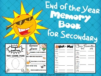 End of Year Memory Book for Secondary