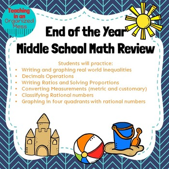 Spring Break Middle School Math Review--NO PREP