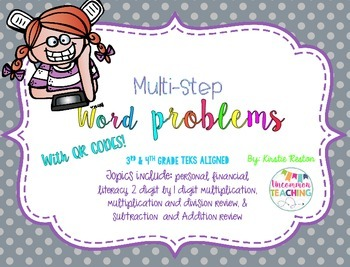 Multi-Step Word Problem Task Cards  [with QR codes]