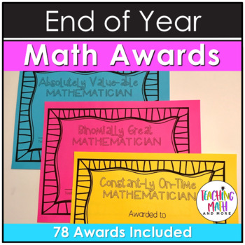 End of Year NO PREP Middle School Math Awards