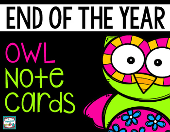 End of Year Owl Note Cards