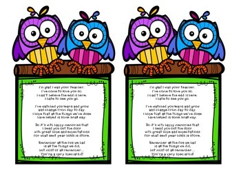 End of Year Poem Owl Theme
