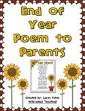 End of Year Poem to Parents-Freebie