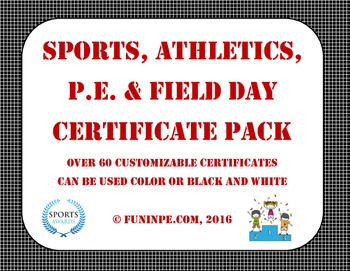 End of Year Sports Team, PE, Field Day Athletic Certificates