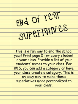 End of Year Superlatives