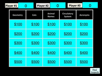 Trivia Jeopardy Game #8