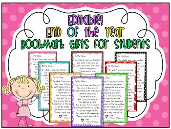 End of Year poem/gift for students (Editable!)