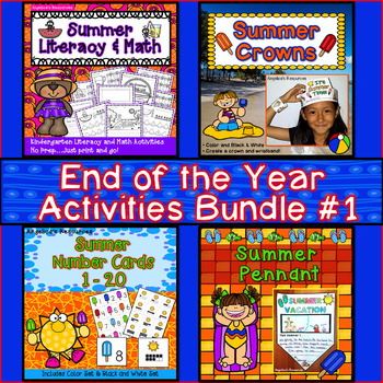 End of the Year Activities Bundle : Literacy, Math, Crowns