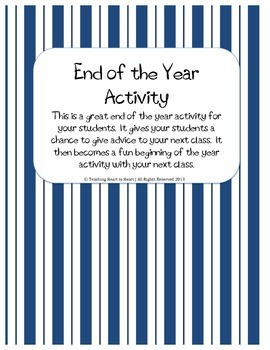 End of the Year Advice Activity