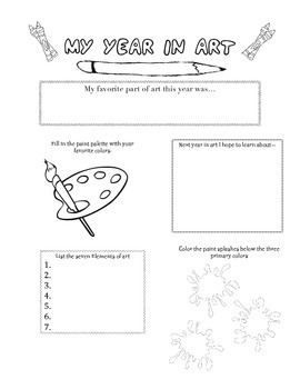 End of the Year Art Worksheet