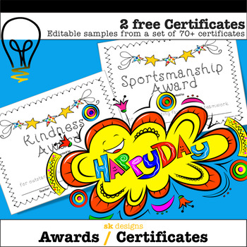End of the Year Awards - Editable Student Certificates Sampler