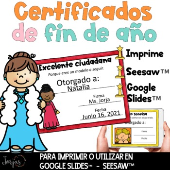 End of the Year Awards Spanish - Certificados de Fin de Año