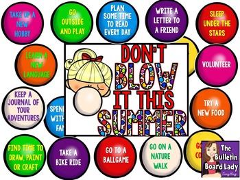 End of the Year Bulletin Board -Don't Blow it This Summer