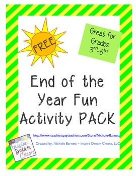 End of the Year Fun Activity Pack