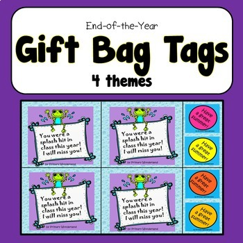 End of the Year Gift Bag Tags VARIETY THEMES