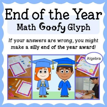 End of the Year Math Goofy Glyph (Algebra Common Core)