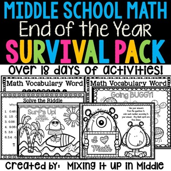 End of the Year Middle School Math Survival Kit  19+ Days