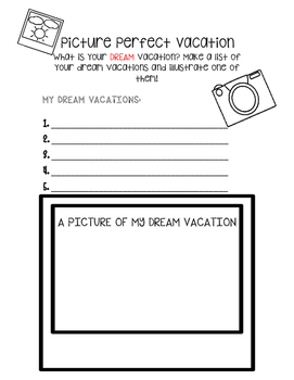 End of the Year Picture Perfect Vacation Activity