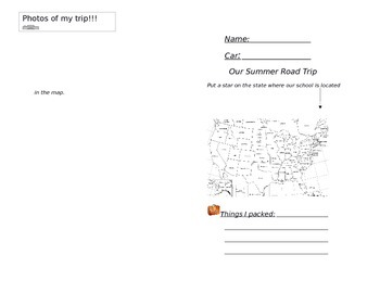 End of the Year Road Trip Activity Booklet