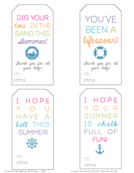 End of the Year Student & Parent Gift Tags (Chalk, Ball, N